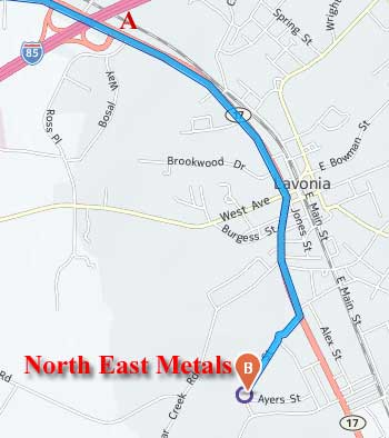 north east metals lavonia ga driving directions map image